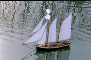 Scale model topsail boat